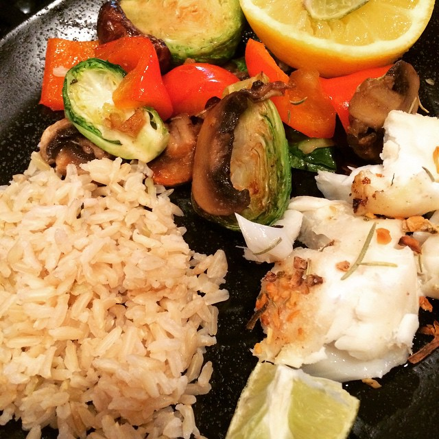 Broiled Halibut with Stir Fry & Brown Rice